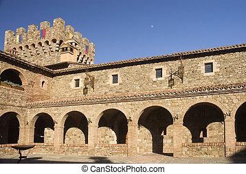 castello, torre, &, cortile