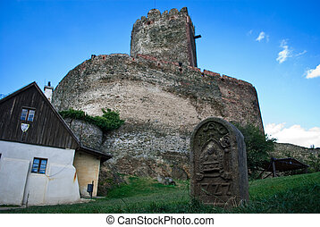 castello, torre, rovine, medievale