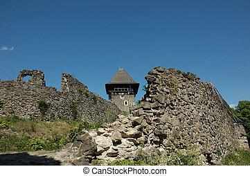 castello, ucraina, villaggio, nevicke