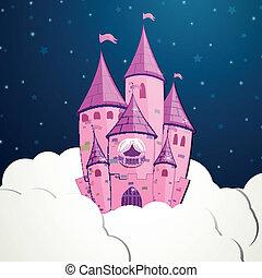 castello, vettore, cartone animato