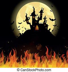 castello, vettore, halloween