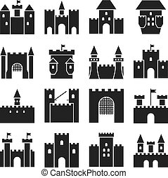 castello, vettore, icons., medievale, pareti, e, gotico, torre, nero, silhouette