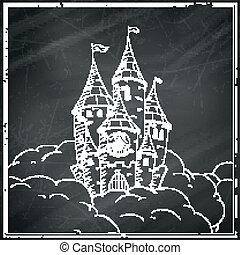castello, vettore, nero, lavagna, cartone animato