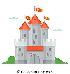 castello, vettore, pietra, medievale