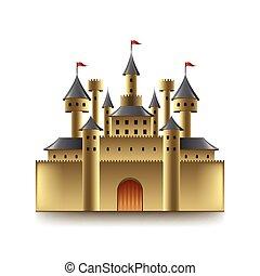 castello, vettore, vecchio, isolato, bianco