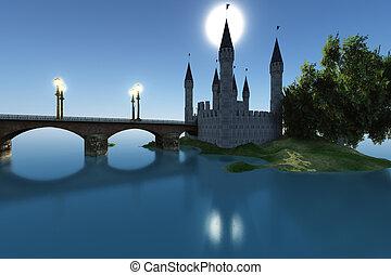 castello, vicino, il, mare