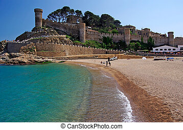 castello, vista, in, tossa, de, guastare, costa, brava, spain.