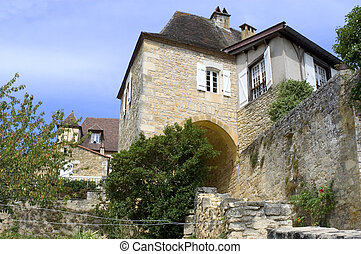 Castelnaud, the village and its castle. French village in the Perigord region where the war took place 100 years
