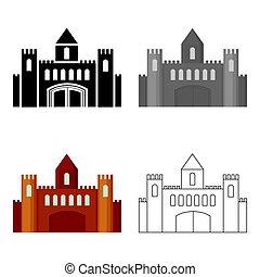 castelo, ícone, cartoon., único, predios, ícone, de, a, cidade grande, infraestrutura, cartoon.