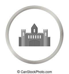 castelo, ícone, monochrome., único, predios, ícone, de, a, cidade grande, infraestrutura, monochrome.