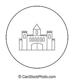 castelo, ícone, outline., único, predios, ícone, de, a, cidade grande, infraestrutura, outline.