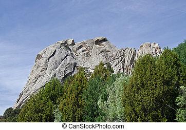 castelo, acima, árvores, rocha