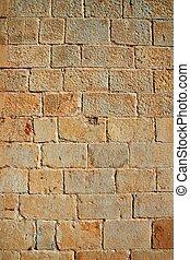 castelo, alvenaria, parede, esculpido, pedra, filas, padrão,...