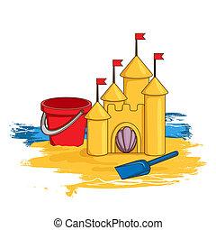 castelo, areia, caricatura