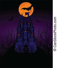 castelo, assombrado, cartão, convite