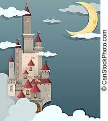 castelo, cena noite, tempo