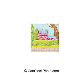 castelo, fairytale, bonito, cor-de-rosa
