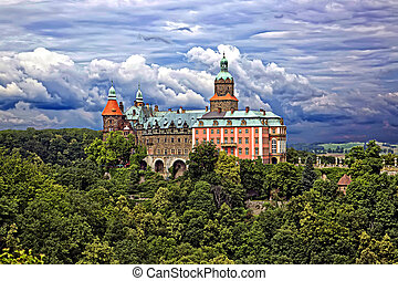 castelo, ksiaz, em, polônia