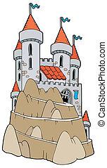 castelo, ligado, colina