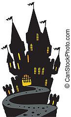 castelo, ligado, colina, silueta