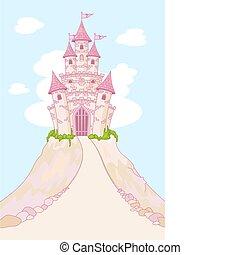 castelo, magia, cartão, convite