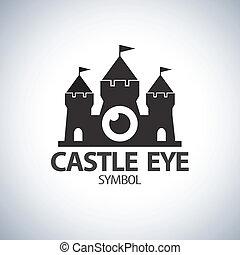 castelo, olho, símbolo, ícone