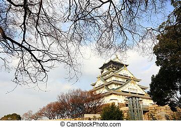 castelo osaka, em, osaka, japão
