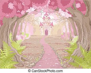 castelo, paisagem, magia