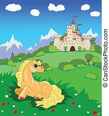 castelo, pequeno, cavalo, prado