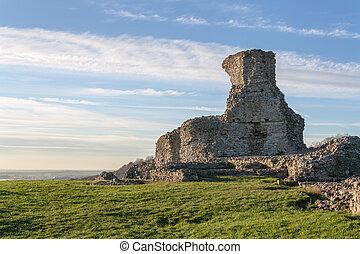 castelo, ruínas, fundo, reino unido