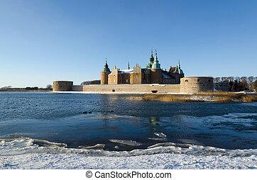 castelo, suécia, kalmar, inverno, vista