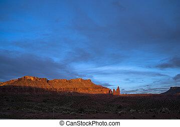 castelo, vale, em, pôr do sol, moab, utah, rota, 128