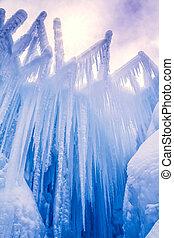 castelos, gelo, formações, icicles