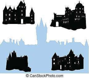 castelos, silhuetas, cinco