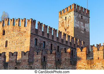 Castelvecchio Castel in Verona city at sunset