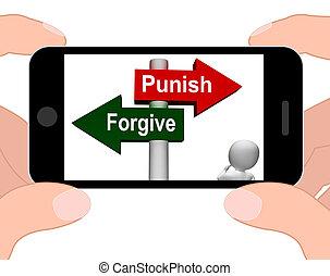 castigar, perdonar, o, exhibiciones, poste indicador, perdón...
