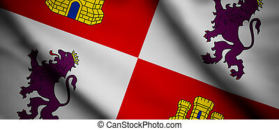 Castilla y Leon - High detailed waving flag of different ...