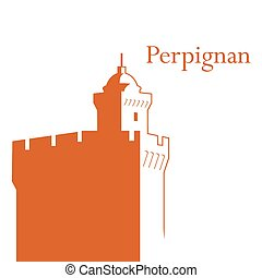 Castillet Perpignan vector illustration - Vector...
