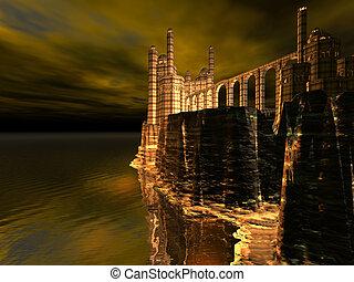 castillo, acantilado