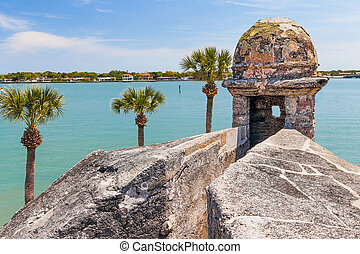 Castillo and Matanzas Bay - A sentry box turret overlooks...