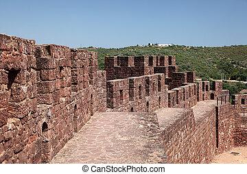 castillo, antiguo, algarve, silves, portugal