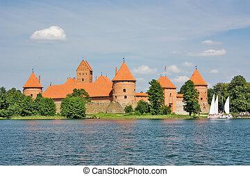 castillo, antiguo, trakai, lituano