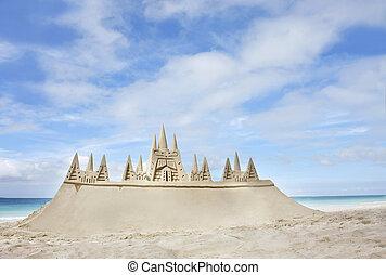 castillo arena, en, playa