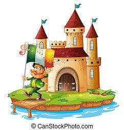 castillo, bandera, tenencia, irlanda, hombre