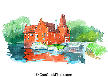 castillo, cervena, lhota, famoso, señales, viajar y turismo,...