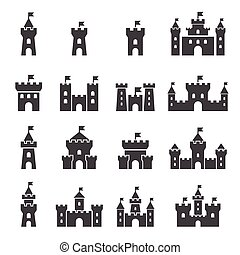 castillo, conjunto, icono