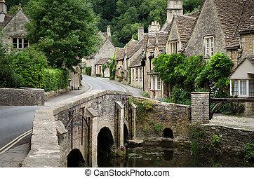 castillo, cotswolds, combe, aldea