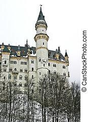 castillo de neuschwanstein, durante, el, invierno