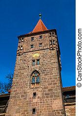 castillo, de, nuremberg., vistas, de, baviera, alemania