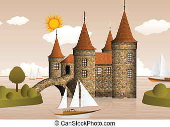 castillo, en, el, río